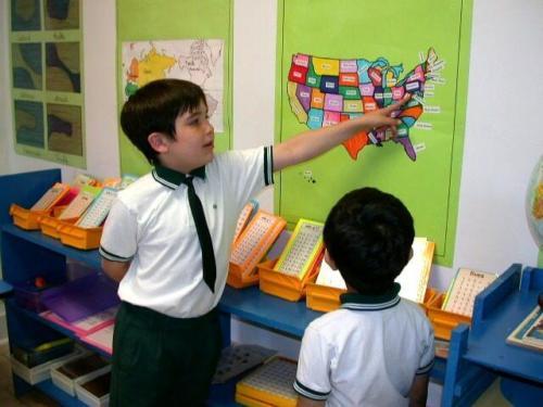 Montesori Students Study Geography