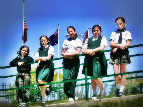 Montessori Girls on the Railing